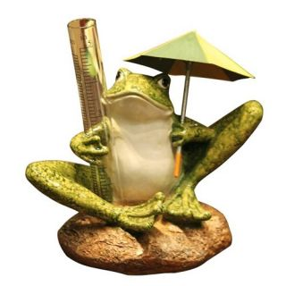 Frog With Umbrella Rain Gauge Cast Resin Garden Statue   Garden Statues