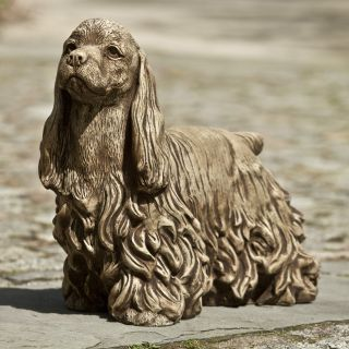 Campania International Bailey The Cocker Spaniel Cast Stone Garden Statue   Garden Statues