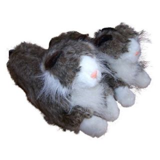 Comfy Feet Gray Long Hair Cat Animal Feet Slippers   Mens Slippers