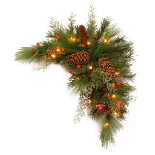 30 in. Decorative Collection White Pine Pre Lit LED Corner Swag   Battery Operated   Christmas Swags