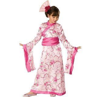 Asien China Kost�m Pink Asia Geisha Geishakost�m Prinzessinnenkost�m Japan Kimono Asiatin Kleid M�dchen Kinder Kinderkost�m Girl Japanerin Chinesin Prinzessin Princess Cheongsam Qipao Gr. M, S, Gr��e:M: Spielzeug
