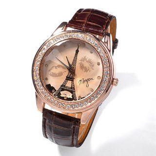 Damen M�dchen champagnerfarben Dial Lovers Lippen Eiffelturm Armbanduhr Braun: Uhren