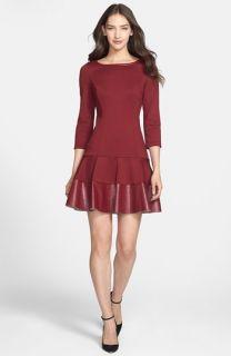 Jessica Simpson Faux Leather Trim Drop Waist Ponte Dress
