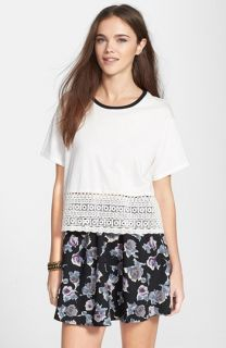 Chloe K Crochet Trim Cotton Blend Tee (Juniors)