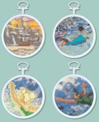 "Peter Pan Mini Vignettes Counted Cross Stitch Kit 3"" Round 16 Count Set Of 4 MCG Textiles Cross Stitch Kits"