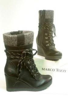 Marco Tozzi TREND Schn�r Stiefel Boots schwarz mit Keilabsatz Gr. 36 Schuhe & Handtaschen