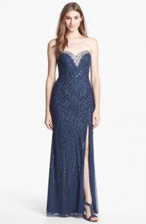 Sean Collection Beaded Strapless Chiffon Gown