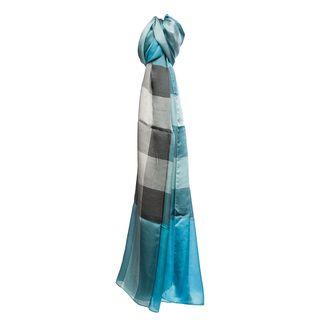 Burberry Turquoise Mega Check Silk Scarf Burberry Designer Scarves & Wraps
