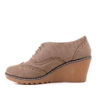 Damen Schuhe, STIEFELETTEN, KEIL WEDGES SCHN�R BOOTS, AY 28J, Synthetik in hochwertiger Leder Optik, Hellbraun, Gr 41 Schuhe & Handtaschen