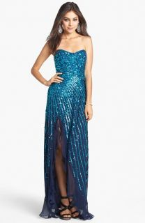 Sean Collection Sequin Silk Chiffon Gown (Online Only)