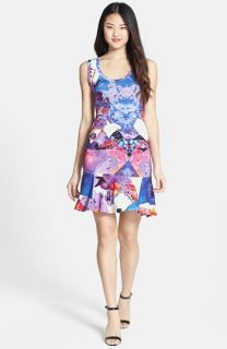 Nicole Miller Blue Eden Tidal Pleat Print Ruffle Hem Jersey Dress