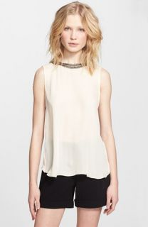 Haute Hippie Embellished Silk Muscle Tee