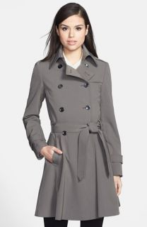 Trina Turk Juliette Double Breasted Skirted Trench Coat (Petite)
