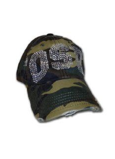 NCAA Oklahoma State Cowboys Women's Distressed Baseball Cap with Rhinestone Embellished Clear OSU Logo, Camo: Sports & Outdoors