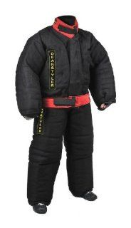 Dean and Tyler Full Protection Bite Suit, Strong French Linen   Black/Red   Size: Medium (H: 5.10 to 6.2 Feet, W: 174 to 187 Pounds) : Pet Leash Collar And Harness Supplies : Pet Supplies