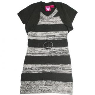 Derek Heart Girls Size 7 14 Shrug Stripe Sweater Dress (Large (14), Black): Clothing