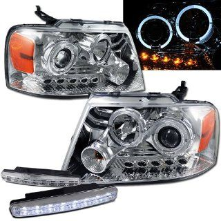 Ford F150 Dual Halo Projector Headlights + 8 Led Fog Bumper Light: Automotive
