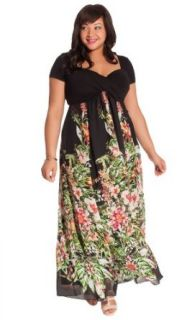 IGIGI Plus Size Christina Maxi Dress in Black Floral: IGIGI: Clothing