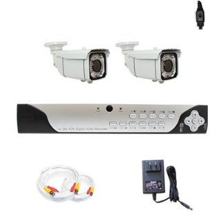"Complete 4 Channel CCTV Real Time HDMI DVR (500G HD) Surveillance Video System Package with (2) x 700 TV Lines 1/3"" Exview HAD CCD II with Effio E DSP Devices 2.8~12mm Varifocal Lens, 66 IR LEDs, 196 Feet IR Distance Outdoor Security Cameras : Hd Dvr"