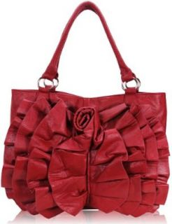 Womens Designer Handbags   Ladies Red Rose Ruffle Tote Shoulder Handbag: Shoes