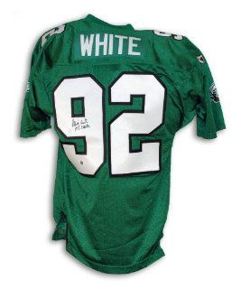 "Reggie White Philadelphia Eagles Autographed Green Authentic Wilson Jersey Inscribed ""198 Sacks"": Sports Collectibles"