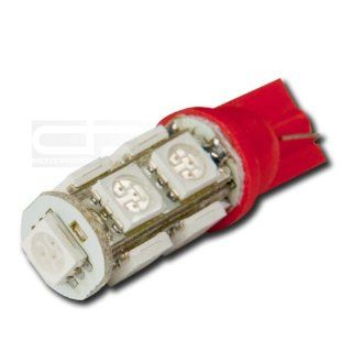 LED T10 W 5050 9SMD LED RD, T10 Adapter 5050 194 168 W5W 9 SMD 12V Bright Red Led Wedge Light for Interior Dome Lamp Trunk Door Panel Center Map Console Bulb: Automotive