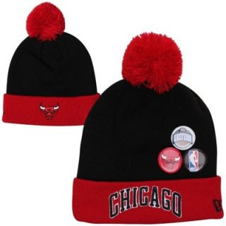 New Era Chicago Bulls Button Up Cuffed Knit Beanie   Red/Black
