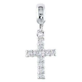 Sterling Silver Kera Cz Cross Dangle Bead by US Gems: Jewelry