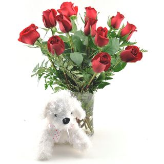 (Valentine's Day Pre Order) One dozen Red Roses With Plush Puppy and Vase Sweets in Bloom Pre Order Flowers