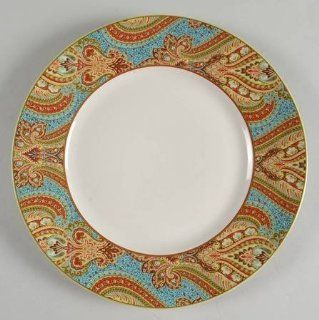 222 Fifth (PTS) Demure Turquoise Dinner Plate, Fine China Dinnerware: Kitchen & Dining