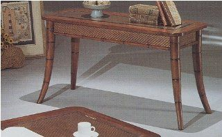 Tropical Island Console Sofa Table in Nautical Wicker Medium Wood and 8mm Beveled Glass