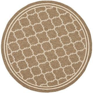 Safavieh Indoor/ Outdoor Courtyard Brown/ Bone Rug (4' Round) Safavieh Round/Oval/Square