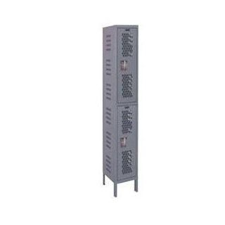 "Hallowell U1518 2HDV HG Hallowell Gray Steel Heavy Duty Ventilated (HDV) Wardrobe Locker, 1 Wide with 2 Opening, Double Tier, 15"" Width x 78"" Height x 21"" Depth, Knock Down: Industrial & Scientific"