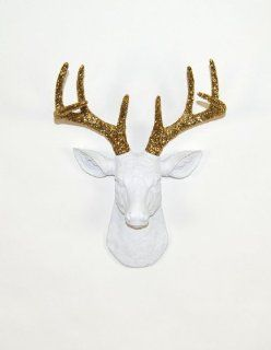The Mini Winston Miniature Resin Deer Head  Miniature White Deer Head with Gold Glitter Antlers Wall Decor  Stag Head Wall Mount  Faux Taxidermy  Animal Head Wall Hanging Sculpture  Animal Mounts  Trophy Taxidermy   Fake Deer Head