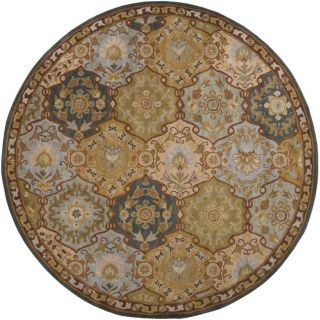 Hand tufted Coliseum Blue Wool Rug (4' Round) Round/Oval/Square