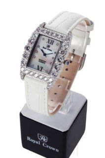 Wrist Watch Quartz Genuine Leather Strap Dial Diamond Italian Style White Color No.234: Everything Else