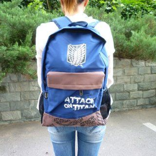 Attack on Titan Canvas Anime Backpack Rucksack/ Travel Knapsack/ College Book Bag  Blue   Wall Decor Stickers