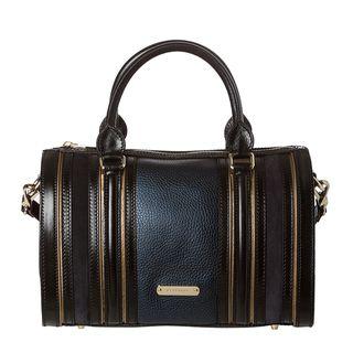 Burberry Medium Metallic Blue Leather/ Suede Bowler Bag Burberry Designer Handbags