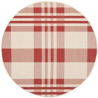 Safavieh CY6201 238 Courtyard Collection Indoor/Outdoor Round Area Rug, 5 Feet 3 Inch, Red and Bone