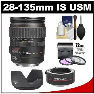 Canon EF 28 135mm f/3.5 5.6 IS USM Zoom Lens with 2x Teleconverter + 3 UV/FLD/CPL Filters + Accessory Kit for EOS 60D, 6D, 7D, 5D Mark II III, Rebel T3, T3i, T4i Digital SLR Cameras: CANON: Camera & Photo