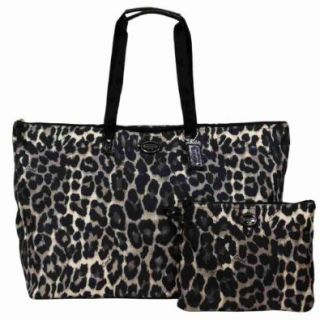 Coach Getaway Park Ocelot Nylon Large Packable Weekender   Black Leopard Print 77437: Shoes