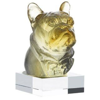 Daum Glass   Animal Collection   Charles Junior French Bulldog   Amber   Collectible Figurines