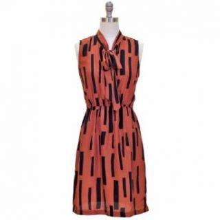 Rust Brown Dress With Black Geometric Print & Tie Collar at  Women�s Clothing store