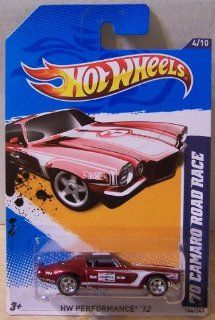 2012 Hot Wheels Super Chase Treasure Hunt '70 Camaro Road Race Dark Red/White #144/247: Toys & Games