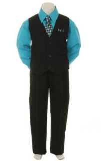 Stylish Dress Suit Outfit Pant,Vest & Tie Baby Boys thru Size 7 Black/Turquoise: Clothing