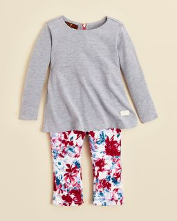 7 For All Mankind Infant Girls' Peplum Top & Floral Skinny Jeans Set   Sizes 0 24 Months's