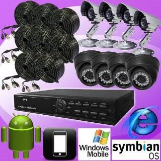 DNT 8ch 8 Channel H.264 Standalone Surveillance CCTV DVR Digital Video Recorder with 8 Color Day Night Vision Camera Security Complete System Package, Real Time CIF Record 240fps, Remote Network Monitoring, Support Internet Explorer, I phone, Android, Winc