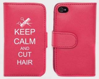 Pink Apple iPhone 5 5S 5LP284 Leather Wallet Case Cover Keep Calm and Cut Hair Scissors & Comb: Cell Phones & Accessories