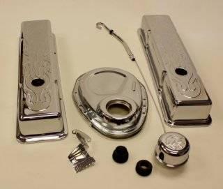 CHEVY SMALL BLOCK ENGINE DRESS UP KIT 283 350 SBC FLAME, CHROME Automotive