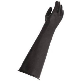 """MAPA Trident 287 Natural Latex Glove, Chemical Resistant, 0.035"""" Thickness, 23"""" Length, Size 10, Black Chemical Resistant Safety Gloves Industrial & Scientific"""